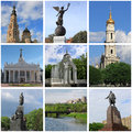 Collage with landmarks of kharkiv ukraine Royalty Free Stock Photography