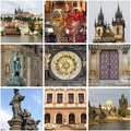 Collage of landmarks of prague czech republic Stock Photos