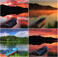 Collage of landscapes with a boat at summer Stock Image
