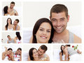 Collage of a lovely couple enjoying the moment Royalty Free Stock Photo
