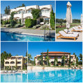 Collage of luxury touristic hotel with pool Stock Photo