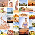 Collage made of many different elements spa medicine massaging resort healthy eating and yoga Royalty Free Stock Image