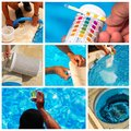 Collage maintenance of a private pool composit Stock Image