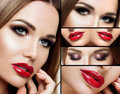 A collage of makeup. Beautiful smoky eyes, red plump lips, long eyelashes. Portrait Face closeup, detail makeup, with