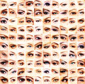 A collage of many different female eyes collection and beautiful Royalty Free Stock Images