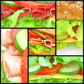 Collage of many different fresh sandwichs Royalty Free Stock Image