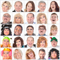 Collage of many different happy human faces modern people Royalty Free Stock Photography