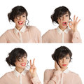 Collage of many expressions a woman on a white background Royalty Free Stock Image