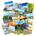 Collage many pictures nature lying heap Royalty Free Stock Photos
