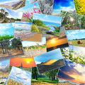 Collage many pictures nature lying heap Stock Image
