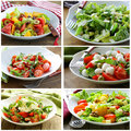 Collage menu salads with vegetables, cheese Royalty Free Stock Photo