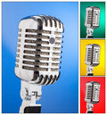 Collage of microphones on different colored backgrounds with in square composition Royalty Free Stock Photo