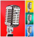 Collage of microphones with different colors colored backgrounds in square composition Stock Photo