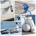Collage of modern sailing boat stuff winches boat fenders ropes and snatch cleats Stock Photography