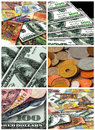 Collage from money of different countries six pictures Stock Photos