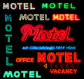 Collage Motel Neon Signs Royalty Free Stock Photo