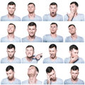 Collage of negative and positive face expressions Royalty Free Stock Photo