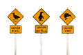 Collage of New Zealand penguin, weka and kiwis road sign Royalty Free Stock Photo