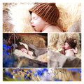 Collage newborn baby sleeps in a basket Stock Photography