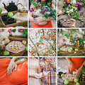 Collage of nine photo pregnancy themed Royalty Free Stock Photo