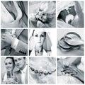 Collage of nine wedding photos Royalty Free Stock Photo