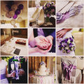 Collage from nine wedding  photos Royalty Free Stock Photo