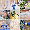 Collage of nine wedding photos in blue Royalty Free Stock Image