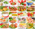 Collage off food of various tasty and healthy Stock Photos