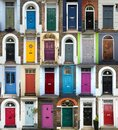 Collage of 24 colorful doors in London