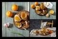 Collage of orange jam Royalty Free Stock Photo
