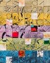 A collage of painted squares. The watercolor paint causes the grain of the paper to show through Royalty Free Stock Photo