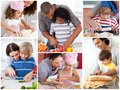 Collage of parents with their children preparing pastry Royalty Free Stock Images