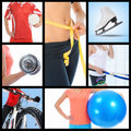 Collage people in sport of beautiful young Stock Image