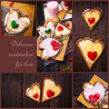 Collage pepper cheese sandwiches love wooden table heart Royalty Free Stock Photo