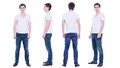 Collage photo of a young man in white t shirt isolated front back side view Stock Photography