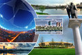 Collage of photos of the city donetsk ukraine beautiful Royalty Free Stock Photography