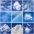 Collage photos clouds Royalty Free Stock Images