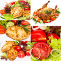 Collage of photos grilled chicken with vegetables in white Stock Photography