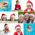 Collage of photos of happy children in New Year`s costumes. Little girls in santa claus hats. Merry christmas concept Royalty Free Stock Photo