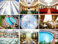 Collage of photos of the interior and exterior business center and spa Stock Photos