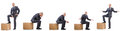 Collage of photos with man and boxes Royalty Free Stock Photo