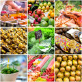 Collage of photos from the market boqueria in barcelona spain Stock Photos