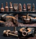 Collage with photos of rusty tools Royalty Free Stock Images