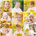 Collage of photos of smiling little girl Stock Photo