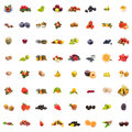 Collage pictures different fruits white background Royalty Free Stock Photography