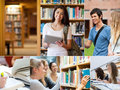 Collage of pictures with students student spending time in the library Stock Photography