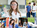 Collage of pictures with various students at the university Royalty Free Stock Photos