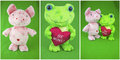 Collage pink pig green frog background valentine love Royalty Free Stock Photo