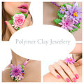 Collage of a polymer clay jewelery floral jewelery made of poly different fashion studio shot rose necklace Stock Photo