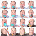 Collage portrait fat man eating a lollipop on white background Stock Images